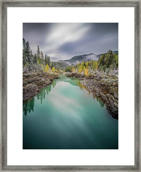 Clash Of Seasons / Flathead River, Glacier National Park  Framed Print