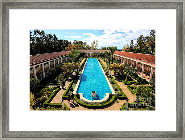 Classic Awesome J Paul Getty Architectural View Villa  Framed Print