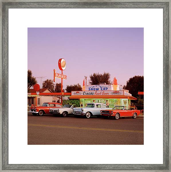 Classic Cars At Delgadillo Snow Cap In Framed Print by Car Culture