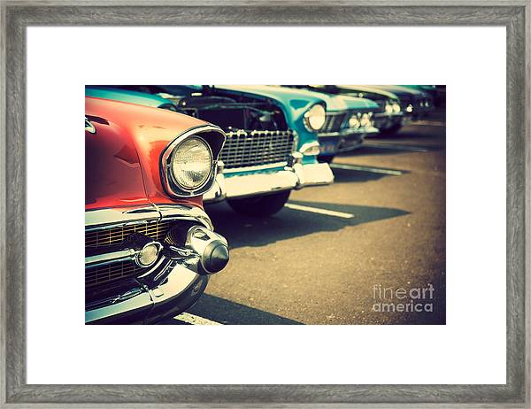 Classic Cars In A Row Framed Print by Topseller
