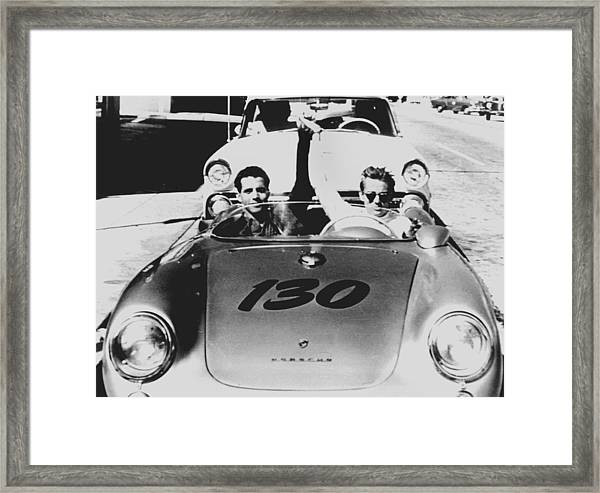 Classic James Dean Porsche Photo Framed Print