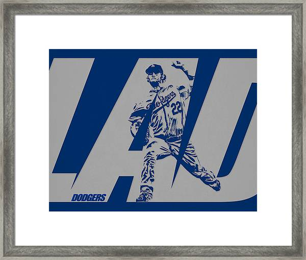 Clayton Kershaw Los Angeles Dodgers City Art 1 Framed Print