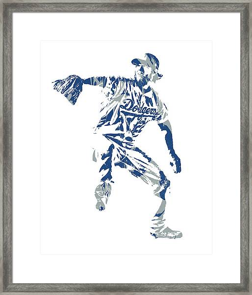 Clayton Kershaw Los Angeles Dodgers Pixel Art  100 Framed Print