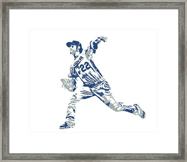 Clayton Kershaw Los Angeles Dodgers Pixel Art 30 Framed Print