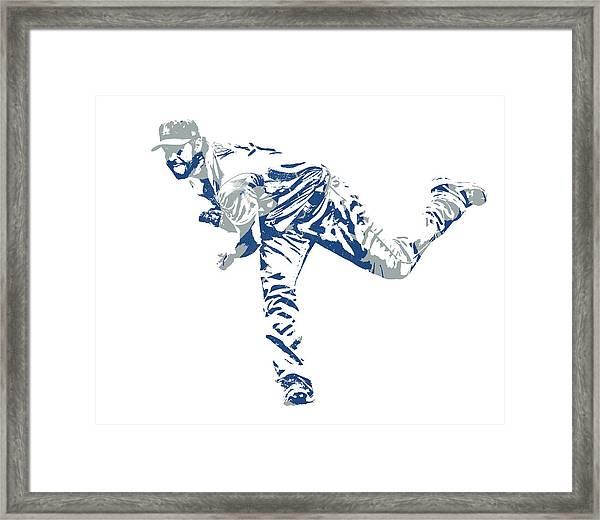 Clayton Kershaw Los Angeles Dodgers Pixel Art 31 Framed Print