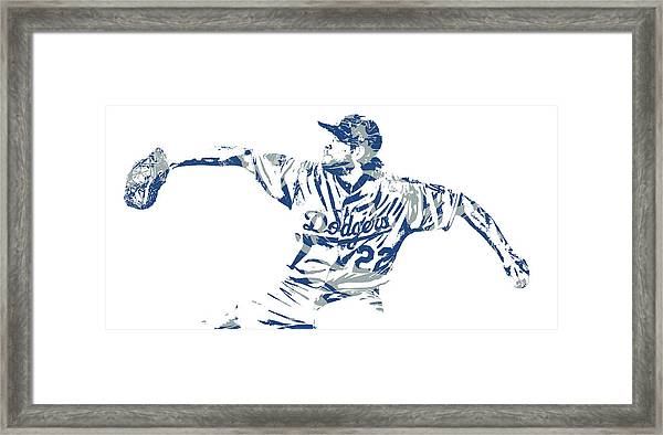 Clayton Kershaw Los Angeles Dodgers Pixel Art 50 Framed Print