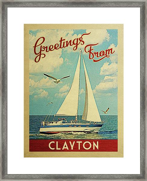 Clayton Sailboat Vintage Travel Framed Print