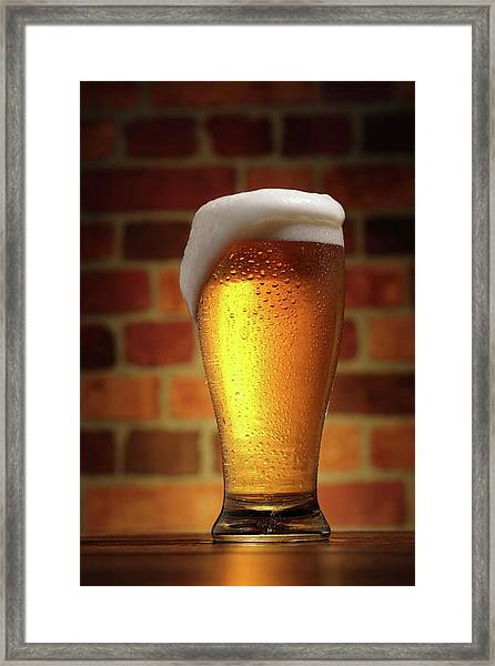 Clear Cold Bear With Foam Overflow Framed Print