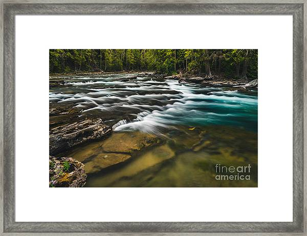 Clear Flowing River. Glacier National Framed Print