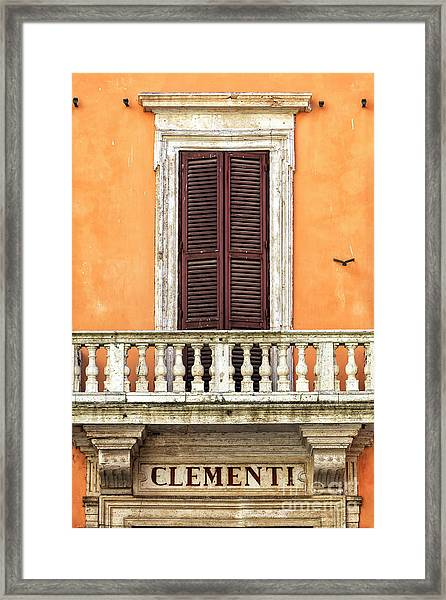 Clementi Rome Italy Framed Print by John Rizzuto