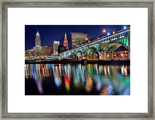 Cleveland Ohio Skyline Reflects Colorfully Framed Print