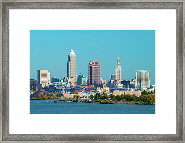 Cleveland Skyline And Lake Erie Framed Print