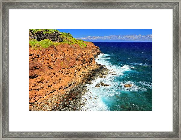 Cliff On Pacific Ocean Framed Print
