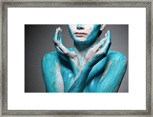 Close-up Of Body Painted Woman Framed Print by Tomfullum