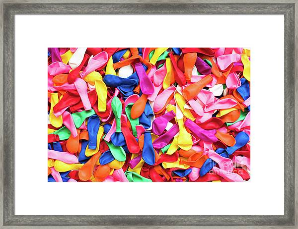 Close-up Of Many Colorful Children's Balloons, Background For Mo Framed Print