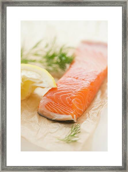 Close Up Of Salmon Meat With Lemon And Framed Print