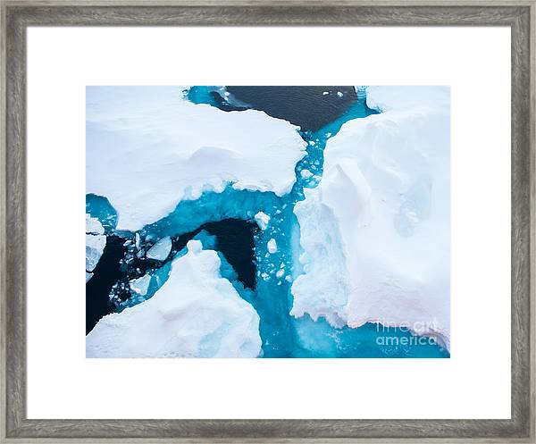 Close Up Photo Of Beautiful Blue Ice In Framed Print