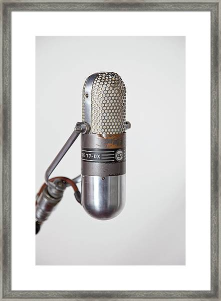 Close-up Vintage Microphone On Stand Framed Print