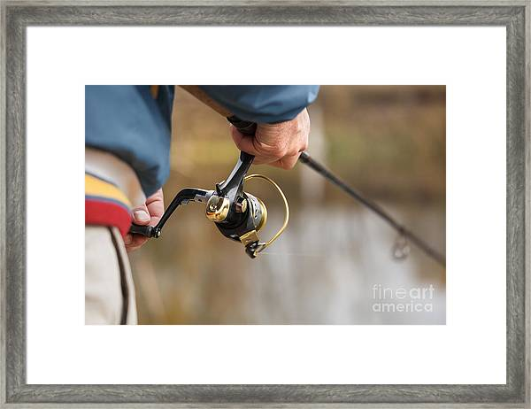 Closeup Of Fisherman`s Hand With Framed Print