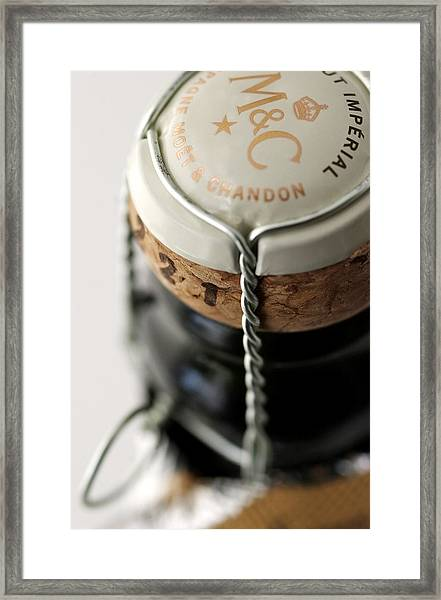 Closure Of Champagne Bottle - Cork And Framed Print