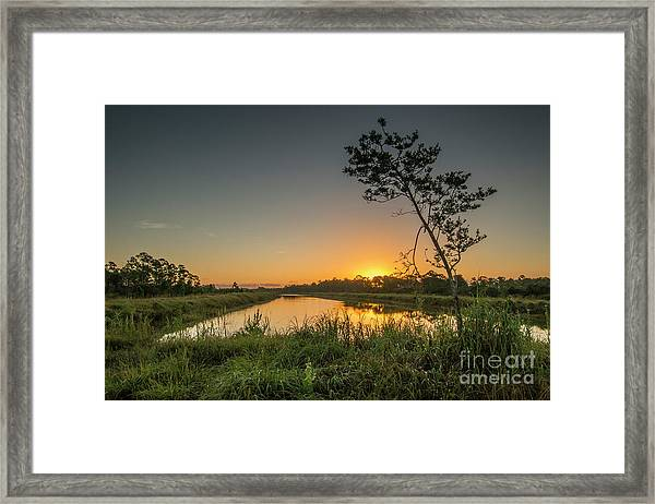 Framed Print featuring the photograph Cloudless Hungryland Sunrise by Tom Claud
