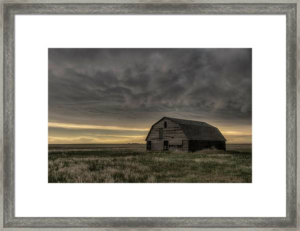 Clouds And Barn Framed Print