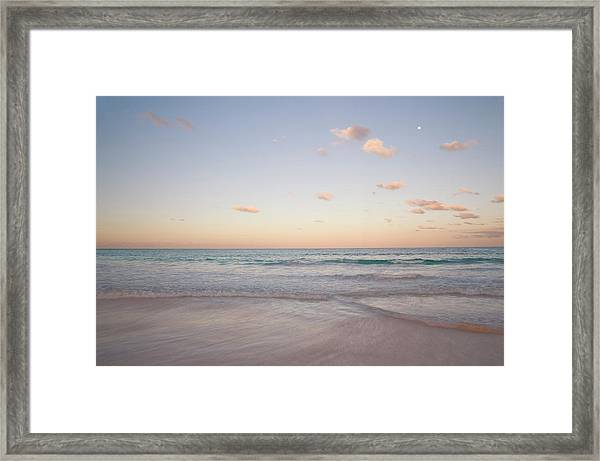 Clouds At Sunset Over Pink Sands Beach Framed Print