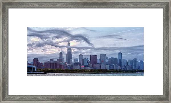 Clouds That Ate Chicago Framed Print by By Ken Ilio