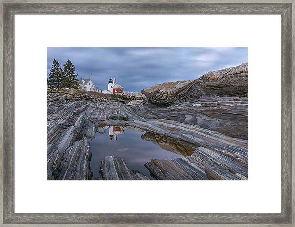 Cloudy Afternoon At Pemaquid Point Framed Print