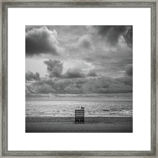 Framed Print featuring the photograph Cloudy Morning Rough Waves by Steve Stanger