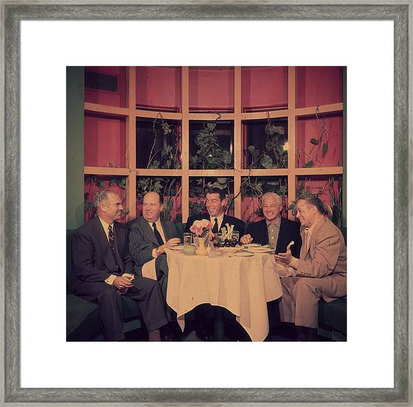 Club Lunch Framed Print by Slim Aarons