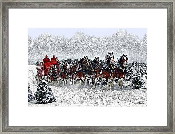 Clydesdales Hitch In Snow Framed Print