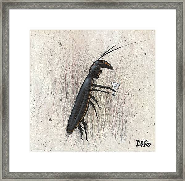 Cockroach With Martini Framed Print
