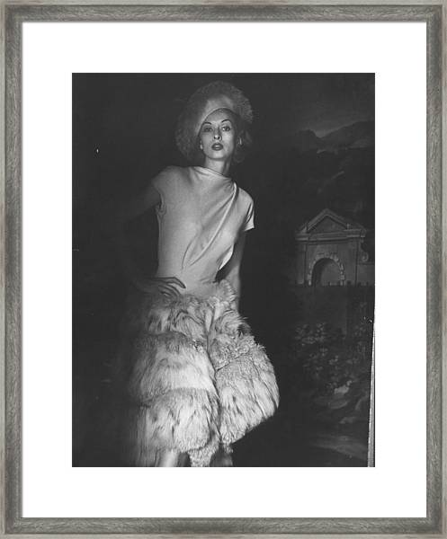 Cocktail Dress With Fur Skirt And Matchi Framed Print by Gordon Parks