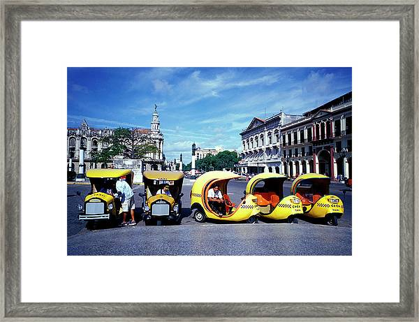 Coco Amarillo, Funny Taxis Waiting On Framed Print