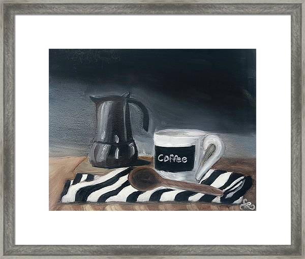 Framed Print featuring the painting Coffee Time by Fe Jones