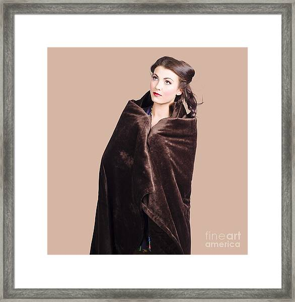 Cold Girl Feeling The Chill Of Winter In Blanket Framed Print