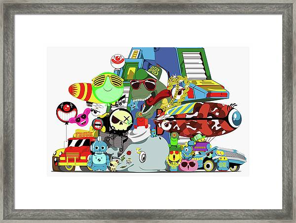 Collage Of Cartoon Characters Framed Print