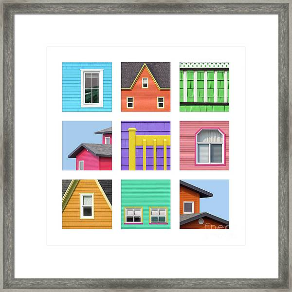 Collage Of Details Of The Colourful Houses Of The Magdalen Islan Framed Print