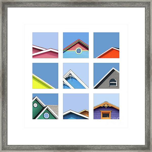 Collage Of The Rooftops Of The Magdalen Islands Framed Print