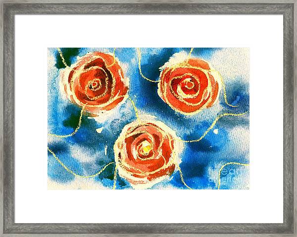 Color Illustration Of Flowers In Framed Print