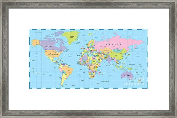 Colored World Map - Borders, Countries Framed Print