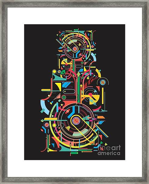 Colorful Abstract Tech Shapes On Black Framed Print