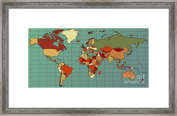 Colorful And Detailed World Map With Framed Print