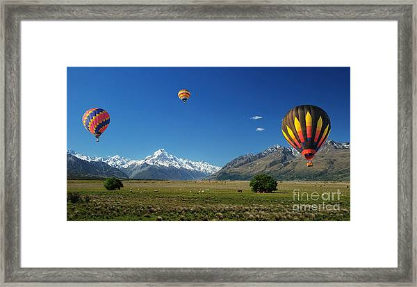 Colorful Balloons Floating Over Mt. Cook Framed Print