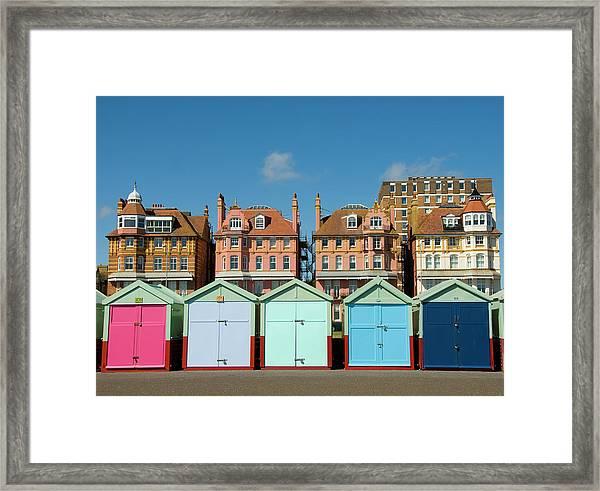 Colorful Beach Huts, Brighton, Uk Framed Print