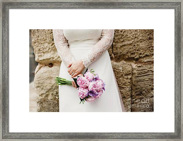 Colorful Bridal Bouquets With Flowers Framed Print