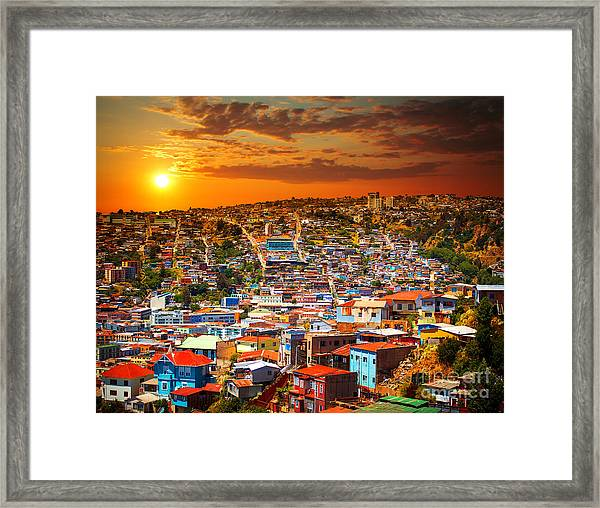 Colorful Buildings On The Hills Of The Framed Print