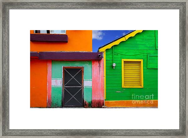 Colorful Caribbean Houses Tropical Framed Print