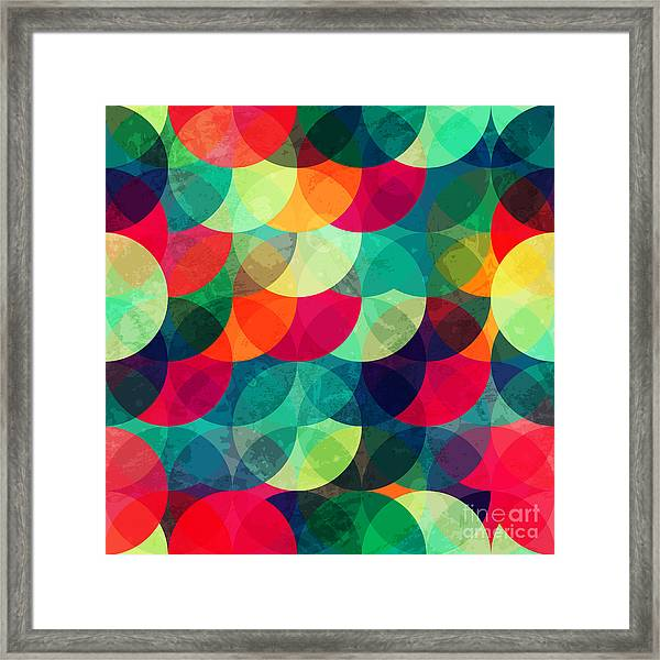 Colorful Circle Seamless Pattern With Framed Print